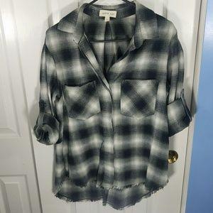 Cloth & Stone Women's Flannel Fray Hem Shirt